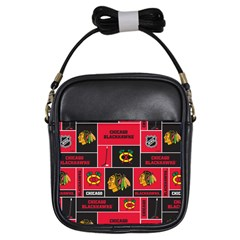 Chicago Blackhawks Nhl Block Fleece Fabric Girls Sling Bags
