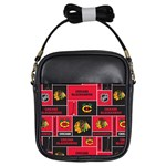 Chicago Blackhawks Nhl Block Fleece Fabric Girls Sling Bags Front