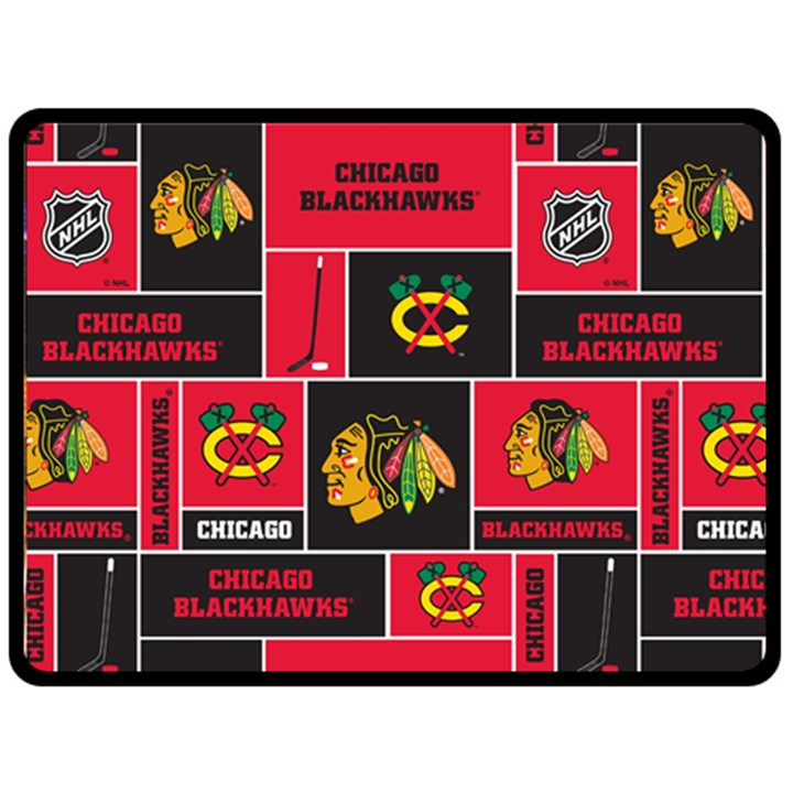 Chicago Blackhawks Nhl Block Fleece Fabric Fleece Blanket (Large)
