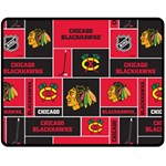 Chicago Blackhawks Nhl Block Fleece Fabric Fleece Blanket (Medium)  60 x50 Blanket Front