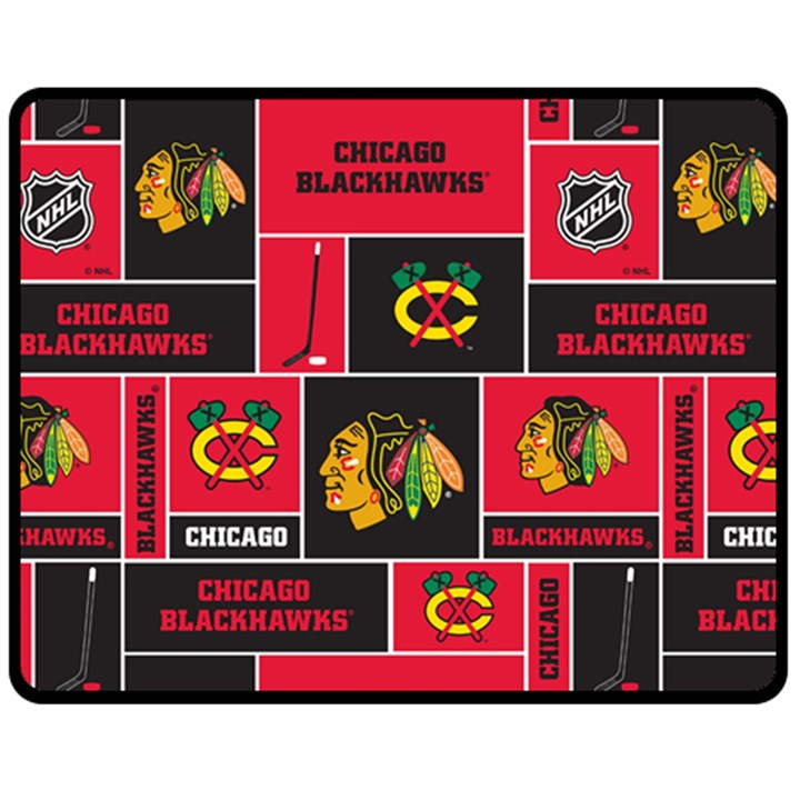 Chicago Blackhawks Nhl Block Fleece Fabric Fleece Blanket (Medium)