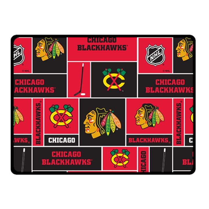 Chicago Blackhawks Nhl Block Fleece Fabric Fleece Blanket (Small)