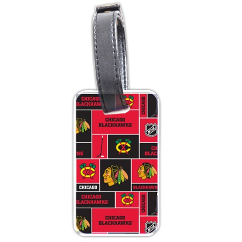 Chicago Blackhawks Nhl Block Fleece Fabric Luggage Tags (One Side)