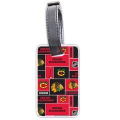 Chicago Blackhawks Nhl Block Fleece Fabric Luggage Tags (one Side)