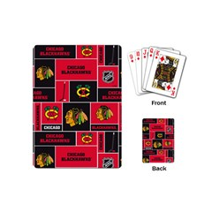 Chicago Blackhawks Nhl Block Fleece Fabric Playing Cards (Mini)