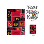 Chicago Blackhawks Nhl Block Fleece Fabric Playing Cards 54 (Mini)  Front - Club2