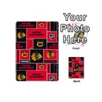 Chicago Blackhawks Nhl Block Fleece Fabric Playing Cards 54 (Mini)  Back