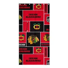 Chicago Blackhawks Nhl Block Fleece Fabric Shower Curtain 36  x 72  (Stall)