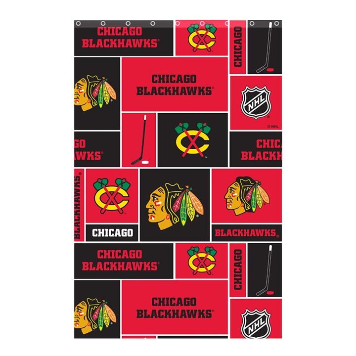 Chicago Blackhawks Nhl Block Fleece Fabric Shower Curtain 48  x 72  (Small)