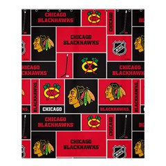 Chicago Blackhawks Nhl Block Fleece Fabric Shower Curtain 60  x 72  (Medium)