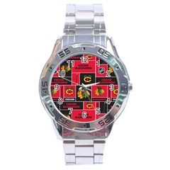 Chicago Blackhawks Nhl Block Fleece Fabric Stainless Steel Analogue Watch