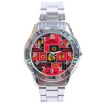 Chicago Blackhawks Nhl Block Fleece Fabric Stainless Steel Analogue Watch Front