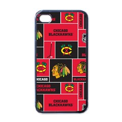 Chicago Blackhawks Nhl Block Fleece Fabric Apple Iphone 4 Case (black)