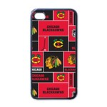 Chicago Blackhawks Nhl Block Fleece Fabric Apple iPhone 4 Case (Black) Front