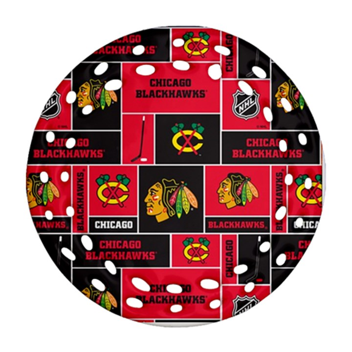 Chicago Blackhawks Nhl Block Fleece Fabric Ornament (Round Filigree)