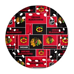 Chicago Blackhawks Nhl Block Fleece Fabric Round Filigree Ornament (2side)