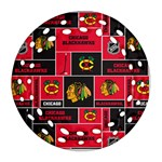 Chicago Blackhawks Nhl Block Fleece Fabric Round Filigree Ornament (2Side) Back