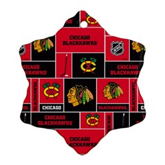 Chicago Blackhawks Nhl Block Fleece Fabric Snowflake Ornament (2-Side)