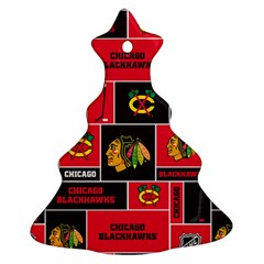 Chicago Blackhawks Nhl Block Fleece Fabric Christmas Tree Ornament (2 Sides)