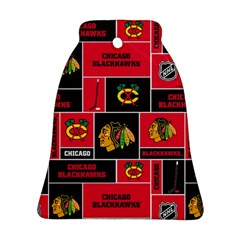 Chicago Blackhawks Nhl Block Fleece Fabric Bell Ornament (2 Sides)