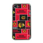 Chicago Blackhawks Nhl Block Fleece Fabric Apple iPhone 4 Case (Clear) Front