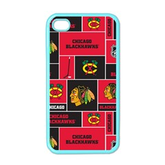Chicago Blackhawks Nhl Block Fleece Fabric Apple iPhone 4 Case (Color)