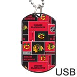 Chicago Blackhawks Nhl Block Fleece Fabric Dog Tag USB Flash (One Side) Front