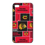 Chicago Blackhawks Nhl Block Fleece Fabric Apple iPhone 4/4s Seamless Case (Black) Front