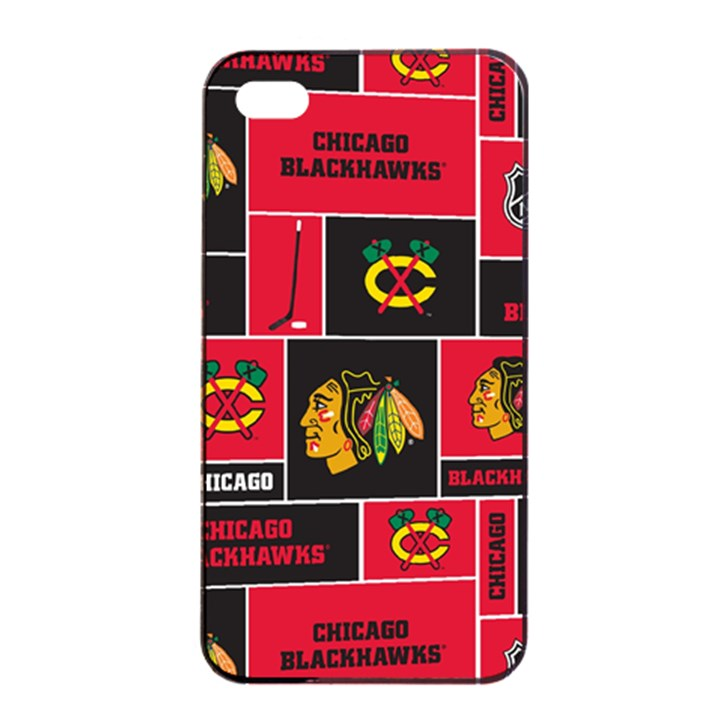 Chicago Blackhawks Nhl Block Fleece Fabric Apple iPhone 4/4s Seamless Case (Black)