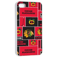 Chicago Blackhawks Nhl Block Fleece Fabric Apple iPhone 4/4s Seamless Case (White)