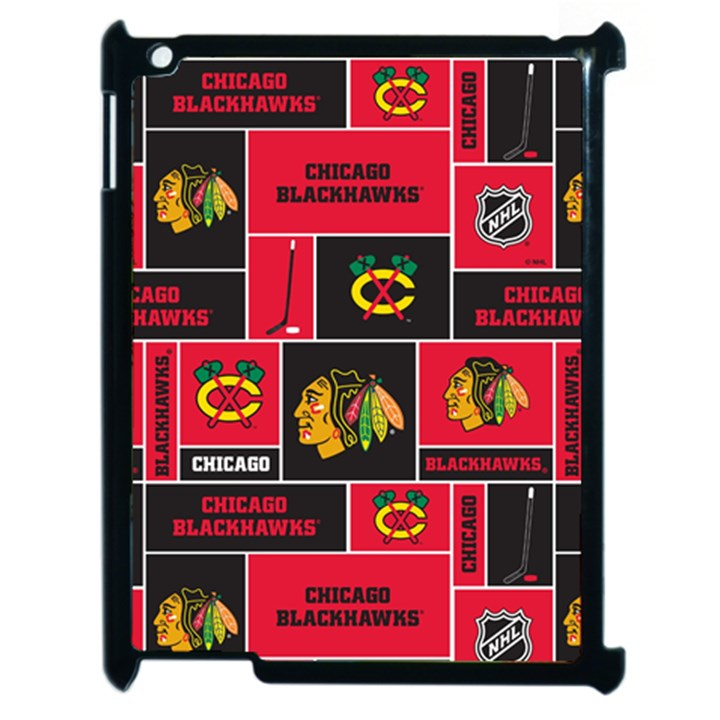 Chicago Blackhawks Nhl Block Fleece Fabric Apple iPad 2 Case (Black)