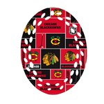 Chicago Blackhawks Nhl Block Fleece Fabric Ornament (Oval Filigree)  Front