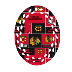 Chicago Blackhawks Nhl Block Fleece Fabric Oval Filigree Ornament (2-Side)