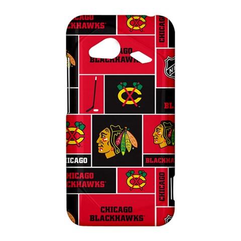 Chicago Blackhawks Nhl Block Fleece Fabric HTC Droid Incredible 4G LTE Hardshell Case