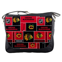Chicago Blackhawks Nhl Block Fleece Fabric Messenger Bags