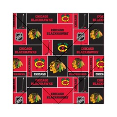 Chicago Blackhawks Nhl Block Fleece Fabric Acrylic Tangram Puzzle (6  x 6 )