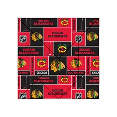 Chicago Blackhawks Nhl Block Fleece Fabric Acrylic Tangram Puzzle (4  x 4 )