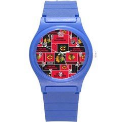 Chicago Blackhawks Nhl Block Fleece Fabric Round Plastic Sport Watch (s)