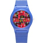 Chicago Blackhawks Nhl Block Fleece Fabric Round Plastic Sport Watch (S) Front