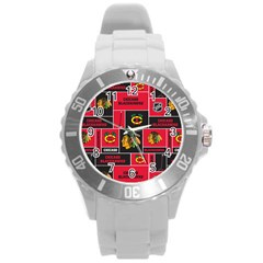 Chicago Blackhawks Nhl Block Fleece Fabric Round Plastic Sport Watch (L)
