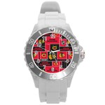 Chicago Blackhawks Nhl Block Fleece Fabric Round Plastic Sport Watch (L) Front
