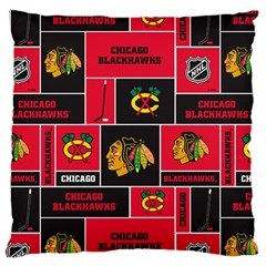 Chicago Blackhawks Nhl Block Fleece Fabric Large Cushion Case (One Side)