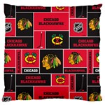 Chicago Blackhawks Nhl Block Fleece Fabric Large Cushion Case (One Side) Front