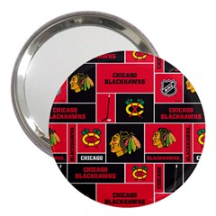 Chicago Blackhawks Nhl Block Fleece Fabric 3  Handbag Mirrors
