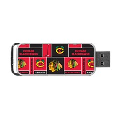 Chicago Blackhawks Nhl Block Fleece Fabric Portable USB Flash (One Side)