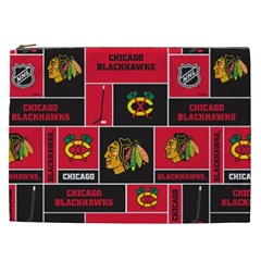 Chicago Blackhawks Nhl Block Fleece Fabric Cosmetic Bag (XXL)