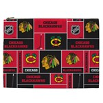 Chicago Blackhawks Nhl Block Fleece Fabric Cosmetic Bag (XXL)  Front