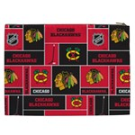 Chicago Blackhawks Nhl Block Fleece Fabric Cosmetic Bag (XXL)  Back