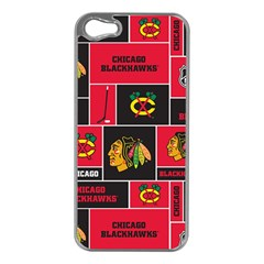 Chicago Blackhawks Nhl Block Fleece Fabric Apple iPhone 5 Case (Silver)
