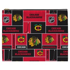 Chicago Blackhawks Nhl Block Fleece Fabric Cosmetic Bag (XXXL)